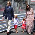 """Andrea Casiraghi et Tatiana Santo Domingo avec leurs enfants Alexandre dit """"Sasha"""" et India lors du Grand Prix de F1 de Monaco le 28 mai 2017 © Michael Alesi / Bestimage"""