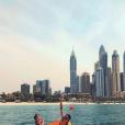 Iris Mittenaere, intrépide, et sa maman Laurence à Dubaï le 15 avril 2018.