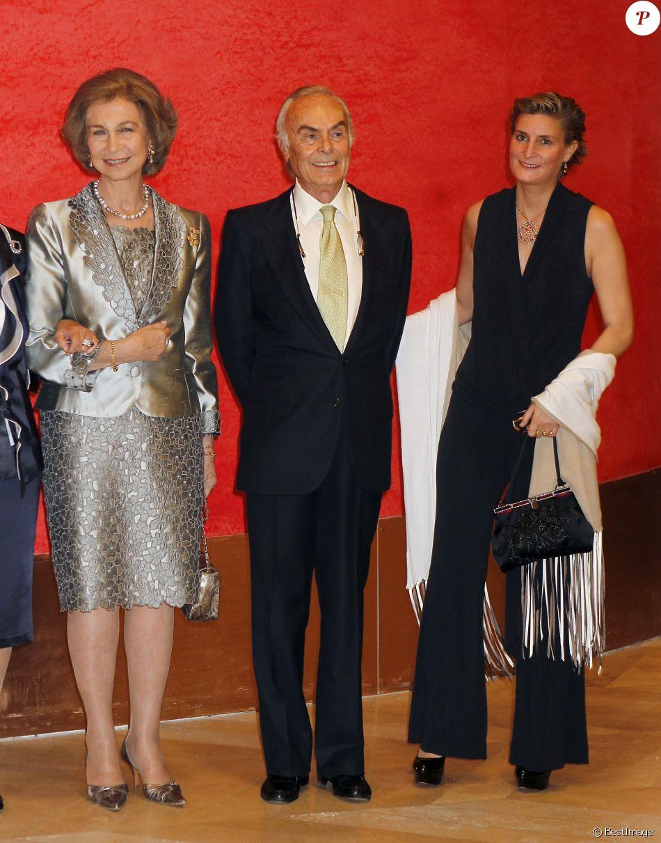 L'infante Margarita de Bourbon, la reine Sofia d'Espagne, Carlos Zurita et sa fille Maria Zurita à Madrid le 10 octobre 2013 lors d'une soirée en l'honneur de Carlos Zurita.