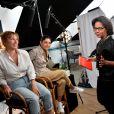 """Exclusif - Audrey Pulvar interviewe Emmanuelle Bercot et Golshifteh Farahani pour son magazine quotidien """"Cannes 14H"""" sur Altice Studio lors du 71ème Festival International du Film de Cannes, à Cannes, le 13 mai 2018. © Veeren/Bestimage"""