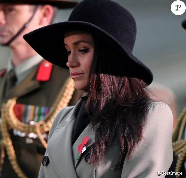 Meghan Markle lors des commémorations de l'ANZAC Day à Londres le 25 avril 2018