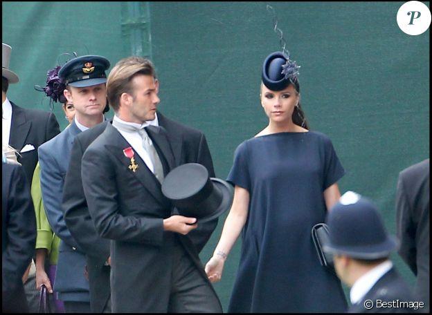 David et Victoria Beckham au mariage de William et Kate à l'abbaye de Westminster, Londres, le 29 avril 2011.