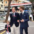 Andrea Casiraghi, son fils Sacha et son frère Pierre - Grand Prix de Formule 1 de Monaco le 27 mai 2018. © Bruno Bebert/Bestimage