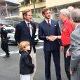 Andréa Casiraghi, son fils Sacha et son frère Pierre - Grand Prix de Formule 1 de Monaco le 27 mai 2018. © Bruno Bebert/Bestimage