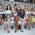 Camélia Jordana, Bae Doona, Laura Harrier, Sophie Turner, Sienna Miller et Ruth Negga - Front row au défilé de la collection croisière Louis Vuitton 2019 dans les jardins de la fondation d'art Maeght à Saint-Paul-De-Vence, France, le 28 mai 2018.e