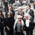 Line Renaud, Roselyne Bracchi (femme de Pierre Bellemare), Françoise Bellemare - Obsèques de Pierre Bellemare à l'église Saint-Roch de Paris, France, le 31 mai 2018.