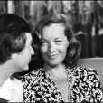 Jean-Claude Brialy et Romy Schneider dans une émission de Michel Drucker à Paris en juin 1980.