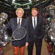 Nelson Monfort et Lionel Chamoulaud - Grande Nuit du Tennis du Rolex Monte Carlo Masters 2018 au Sporting Club de Monaco, le 20 avril 2018. © Bruno Bebert/Bestimage