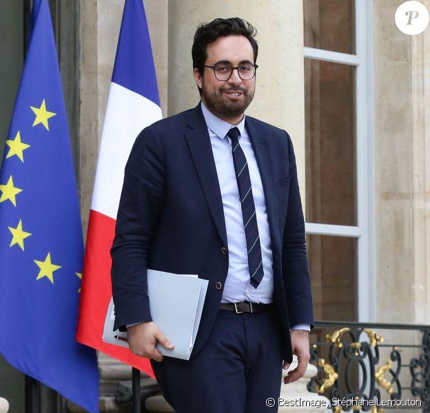Mounir Mahjoubi, Secrétaire d'Etat chargé du Numérique lors de la sortie du conseil des ministres du 20 avril 2018, au palais de l'Elysée à Paris. © Stéphane Lemouton / Bestimage