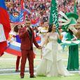 Aida Garifullina et Robbie Williams - Cérémonie d'ouverture de la Coupe du Monde de football 2018 au complexe olympique Loujniki à Moscou, le 14 juin 2018.
