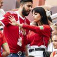 Georgina Rodriguez, la compagne de Cristiano Ronaldo, avec une amie dans les tribunes du match Portugal / Maroc lors de la Coupe du Monde de Football à Moscou. Le 20 juin 2018. © Pierre Perusseau / Bestimage