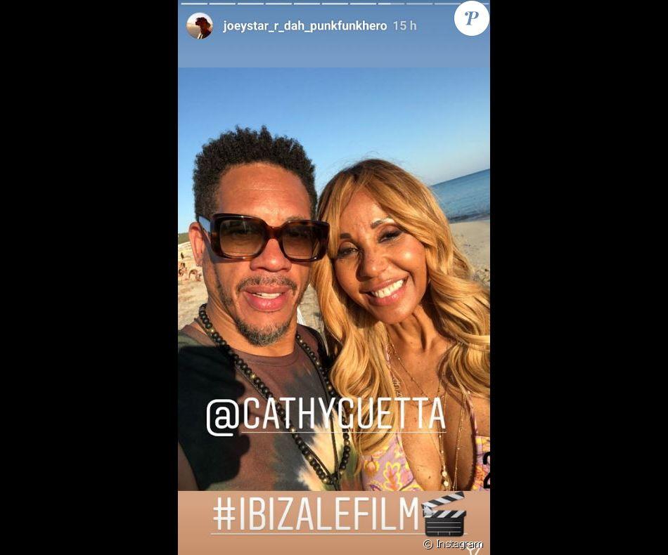 "JoeyStarr et Cathy Guetta sur la tournage du film ""Ibiza"", à Ibiza. Instagram, juin 2018."