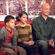 Frank Leboeuf, son ex-épouse Beatrice et leurs deux enfants, Hugo et Jade. Janvier 2002. © Jean-Jacques Datchary/ABACA