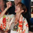 Daniel Lauclair, Victoria Abril et guest - 6ème édition du Trophée de la Pétanque Gastronomique au Paris Yacht Marina à Paris, France, le 28 juin 2018. © Philippe Baldini/Bestimage