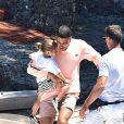 Younes Bendjima, Kourtney Kardashian, Reign Disick - Kourtney Kardashian profite de jolies vacances au soleil en compagnie de ses enfants et de son compagnon Younes Bendjima sur un yacht au large de Portofino en Italie, le 30 juin 2018