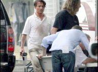 Johnny Depp toujours blessé au visage et Aaron Eckhart en plein tournage...  La vie reste belle à Porto Rico !