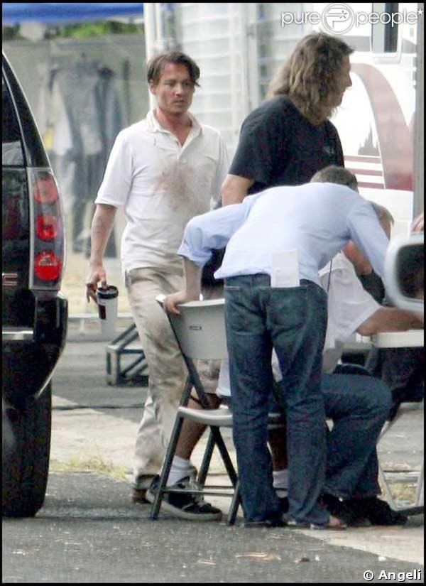 Johnny Depp sur le tournage de The Rum Diary, au Costa Rica