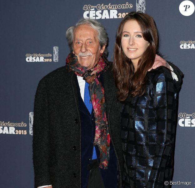 Jean Rochefort et sa fille Clémence - Photocall de la 40e cérémonie des César au théâtre du Châtelet à Paris. Le 20 février 2015