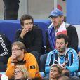 Dany Boon et ses fils Mehdi Boon et Eytan Boon - Célébrités dans les tribunes lors de la demi-finale de la coupe du monde opposant la France à la Belgique à Saint-Pétersbourg, Russie, le 10 juillet 2018. La France a gagné 1-0. © Cyril Moreau/Bestimage