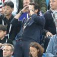 Patrick Bruel - Célébrités dans les tribunes lors de la demi-finale de la coupe du monde opposant la France à la Belgique à Saint-Pétersbourg, Russie, le 10 juillet 2018. La France a gagné 1-0. © Cyril Moreau/Bestimage