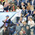 Dylan Deschamps, Nagui, sa femme Melanie Page, Leïla Kaddour-Boudadi, Jean Roch, Manu Levy (Emmanuel Levy), Dany Boon et ses fils Mehdi Boon et Eytan Boon - Célébrités dans les tribunes lors de la demi-finale de la coupe du monde opposant la France à la Belgique à Saint-Pétersbourg, Russie, le 10 juillet 2018. La France a gagné 1-0. © Cyril Moreau/Bestimage