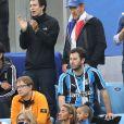 Dany Boon et son fils Mehdi Boon - Célébrités dans les tribunes lors de la demi-finale de la coupe du monde opposant la France à la Belgique à Saint-Pétersbourg, Russie, le 10 juillet 2018. La France a gagné 1-0. © Cyril Moreau/Bestimage