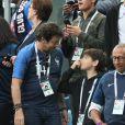 Patrick Bruel et son fils - Célébrités dans les tribunes lors de la demi-finale de la coupe du monde opposant la France à la Belgique à Saint-Pétersbourg le 10 juillet 2018 © Cyril Moreau/Bestimage