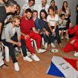 Le groupe rock Kyo (Benoît Poher) et Madame Monsieur (Émilie Satt et Jean-Karl Lucas), présents pour le concert caritatif au profit de l'association Enfant Star & Match à Juan-les-Pins ont suivi dans les loges la demi-finale opposant la France à la Belgique et ont fêté la victoire de l'équipe de France de football le 10 juillet 2018. L'association fondée depuis plus de 10 ans par Fabrice et Barbara Ravaux à Antibes Juan-les-Pins, a pour objectif d'initier, de favoriser et d'encourager la pratique du sport aux enfants malades (essentiellement le tennis, les Ravaux sont propriétaires d'un club de tennis), sans restriction de pathologie et dans toute la France. Les bénéfices de ce concert, incluant le prix des entrées, les dons des privés et des partenaires comme Carrefour Market ou Burger King, serviront à offrir des vacances aux enfants. © Bruno Bebert/Bestimage