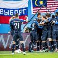 La joie de l'équipe de France après sa victoire en demi-finale de la coupe du monde 2018 contre la Belgique à Saint-Pétersbourg le 10 juillet 2018