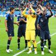 Joie de l'équipe de France de football après leur qualification en finale de la coupe du monde 2018 en Russie à Saint-Pétersbourg le 10 juillet 2018