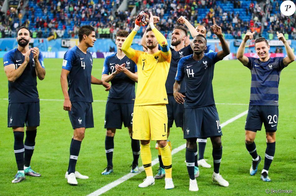 Joie de l 39 quipe de france de football apr s leur qualification en finale de la coupe du monde - Coupe de france l equipe ...
