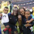 Blaise Matuidi avec ses trois enfants Myliane, Naëlle et Eden - Finale de la Coupe du Monde de Football 2018 en Russie à Moscou, opposant la France à la Croatie (4-2) le 15 juillet 2018 © Cyril Moreau/Bestimage