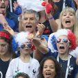 Dylan Deschamps, Nagui et sa Mélanie Page - People au stade Loujniki lors de la finale de la Coupe du Monde de Football 2018 à Moscou, opposant la France à la Croatie à Moscou le 15 juillet 2018 .© Cyril Moreau/Bestimage