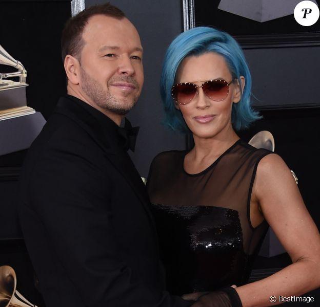 Jenny McCarthy et son mari Donnie Wahlberg à la 60ème soirée annuelle des Grammy Awards à Madison Square Garden à New York, le 28 janvier 2018 © Chris Delmas/Bestimage
