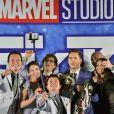 "Kenichi Endo, Sayaka Akimoto, Koji Kato, Koichi Yamadera, Chris Pratt, Dave Bautista, Zoe Saldana, James Gunn à la première du film ""Les gardiens de la galaxie 2"" à Tokyo le 10 avril 2017"