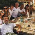Didier Deschamps en vacances à Saint-Tropez avec sa femme Claude, son fils Dylan, Valérie Bègue, Jean Roch, Nagui, Mélanie Page, Leïla Kaddour. Instagram, le 21 juillet 2018.
