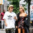Justin Bieber et sa fiancée Hailey Baldwin se promènent en amoureux dans les rues de New York. Le 27 juillet 2018