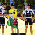 Dumoulin Thomas (NED-Sun) , Thomas Geraint et Chris Froome (GBR-Sky) - Arrivée de la 21ème et dernière étape (Houilles - Paris Champs-Elysées) de la 105ème édition du Tour de France sur les Champs-Elysées à Paris le 29 juillet 2018. © Pierre Perusseau/Bestimage