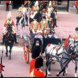 Elizabeth II et le duc d'Edimbourg au mariage du prince Andrew et de Sarah Ferguson le 21 juillet 1986