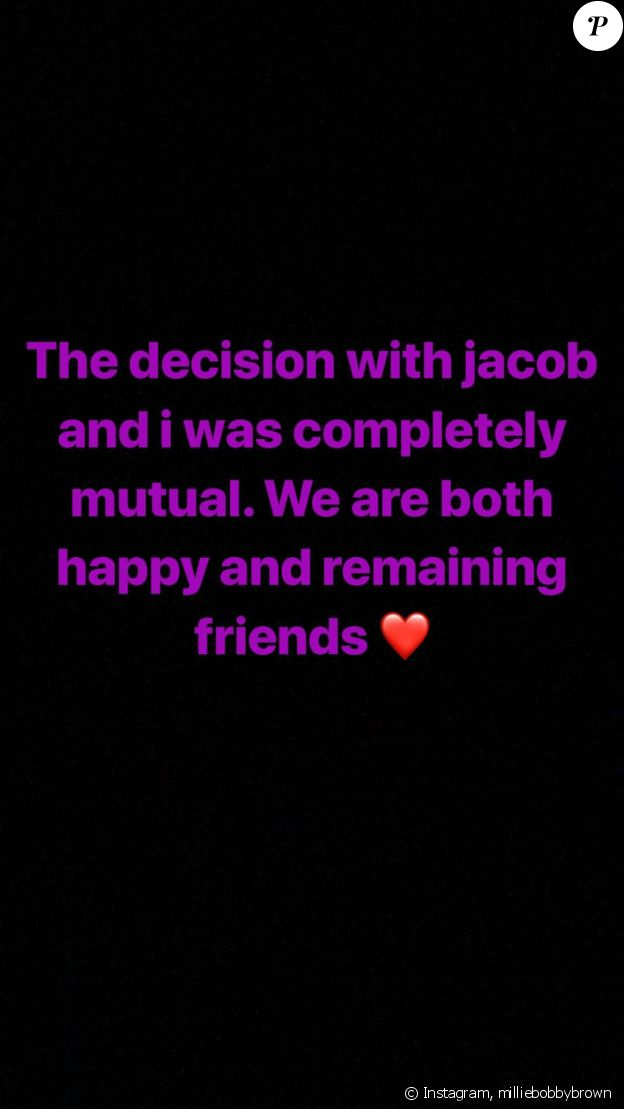 Millie Bobby Brown officialise sa rupture avec Jacob Sartorius sur Instagram, le 31 juillet 2018.