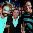 Exclusif - Adil Rami, Bernard Montiel ( entouré de deux champions du monde) et Marcel Desailly - Le champion du monde de K1, Muay Thai et Kick-Boxing, Yohan Lidon célèbre sa victoire au Mas de Bellevue après son combat lors de la Fight Night 2018 à Saint-Tropez