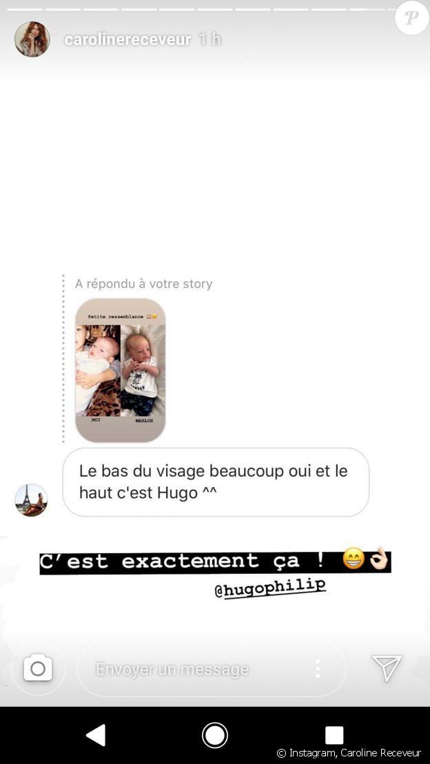 Caroline Receveur dévoile sa ressemblance avec son fils Marlon - story Instagram, 8 août 2018