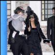 Salma Hayek, François-Henri Pinault et leur fille Valentina arrivant le 24 avril 2009 au dîner précédant la cérémonie du mariage à Venise