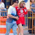Exclusif - Sophie Turner pleure dans les bras de son fiancé Joe Jonas dans les rues de New York, le 15 août 2018