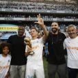 Steve Mandanda, Florian Thauvin, Adil Rami et Franck Le Gall - Match OM-Toulouse FC pour le lancement de la saison 2018/2019 du championnat de football de Ligue 1 au stade Vélodrome à Marseille. Le 10 août 2018