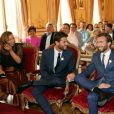 Exclusif - Mariage civil de Christophe Beaugrand et de Ghislain Gerin à Paris le 25 juillet 2018. © Dominique Jacovides/Bestimage