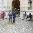 Exclusif - Mariage civil de Christophe Beaugrand et de Ghislain Gerin à Paris le 25 juillet 2018. © Dominique Jacovides/Bestimage