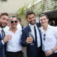 Exclusif - Cocktail du mariage civil de Christophe Beaugrand et de Ghislain Gerin à Paris le 25 juillet 2018. © Dominique Jacovides/Bestimage