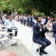 Exclusif - Cérémonie du mariage de Christophe Beaugrand et de Ghislain Gerin au Domaine de Blanche Fleur à Châteauneuf-de-Gadagne le 28 juillet 2018. © Dominique Jacovides/Bestimage