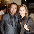 Anne-Sophie Lapix et Bernard Montiel à la soirée Tod's donnée le 28 avril 2009, rue du Faubourg St Honoré.